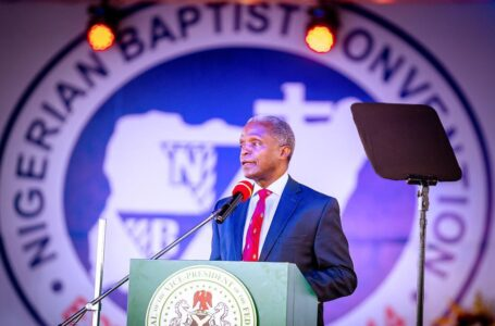 Vice President of Nigeria, Prof. Yemi Osibanjo speaking at the 108th convention of the Nigerian Baptists Convention